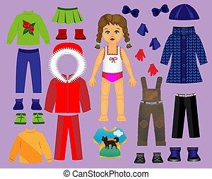 játék letesz, tél, baba, dolgozat, 3., creativity., rész, öltözék