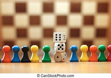 játék munkadarab, bizottság, kozkázik
