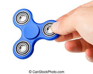 játék, noha, egy, kék, fidget, fonó