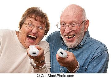játék, párosít, video, idősebb ember, játék