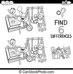 játék, színezés, különbség, oldal