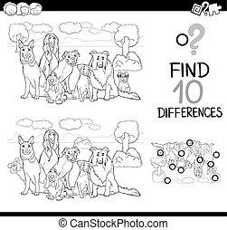 játék, színezés, kutya, oldal, különbség