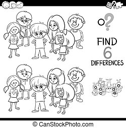 játék, színezés, oldal, különbség