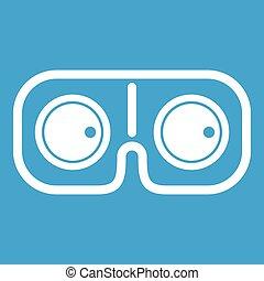 játék, szemüveg, fehér, ikon