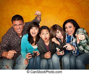 játék, video, játék, család