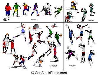 játékok, noha, ball., futball, labdarúgás, kosárlabda, volleyball., vektor, ábra