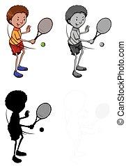 játékos, állhatatos, betű, tenisz