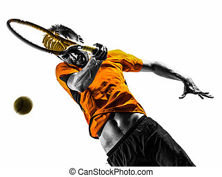 játékos, árnykép, tenisz, ember, portré