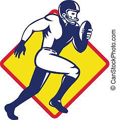 játékos, amerikai futball, futás, hátvéd fociban