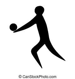 játékos, atléta, árnykép, röplabda, ember