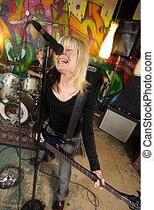 játékos, basszus, női, sikoly