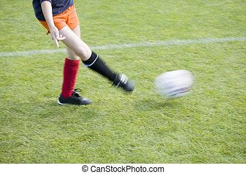 játékos, elmenő, labda, lány, futball
