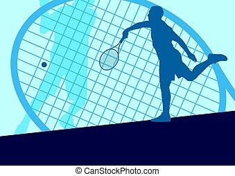 játékos, elvont, vektor, hím, tenisz