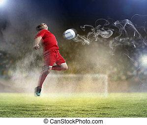 játékos, foci labda, meglepő