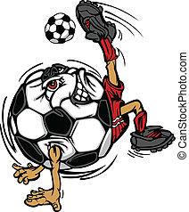 játékos, focilabda, karikatúra, labdarúgás