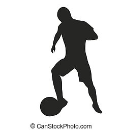 játékos, futball, árnykép