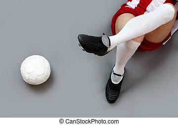 játékos, futball, bágyasztó