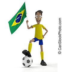 játékos, futball, brazíliai