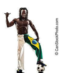 játékos, futball, fekete, brazíliai, ember