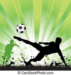játékos, futball, grunge, háttér