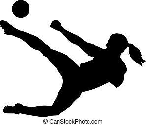 játékos, futball, nő, női