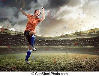 játékos, futball, női, boldog