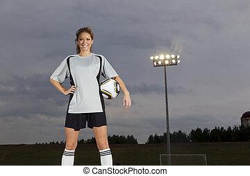 játékos, futball, női