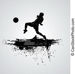 játékos, futball, vektor