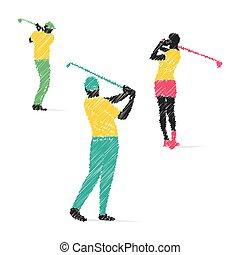játékos, golf, tervezés