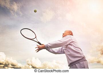 játékos, idősebb ember, tenisz