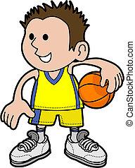 játékos, kosárlabda, ábra, fiú