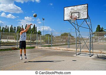 játékos, kosárlabda, lövés, játszótér