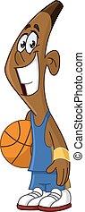 játékos, labda, fekete, kitart kosárlabda