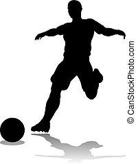 játékos, labdarúgás, árnykép, futball