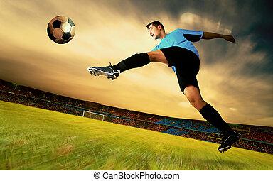játékos, labdarúgás, ég terep, olimpic, boldogság, stadion, napkelte