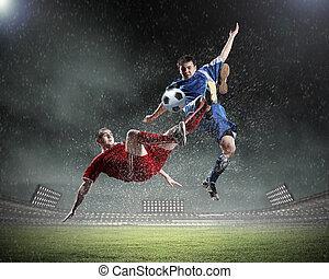 játékos, labdarúgás, két