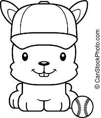 játékos, mosolygós, baseball, karikatúra, nyuszi