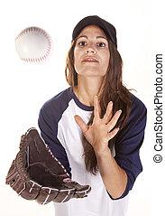 játékos, nő, baseball, vagy, softball labdajáték