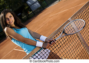 játékos, nő, tenisz, fiatal