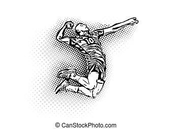 játékos, röplabda, ábra