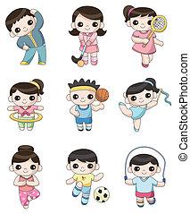játékos, sport, karikatúra, ikon