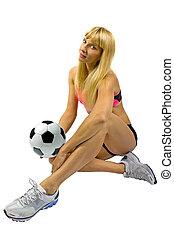 játékos, szőke, futball