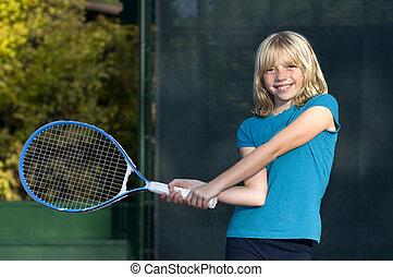 játékos, tenisz, fiatal