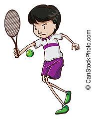játékos, tenisz, hím