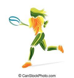 játékos, tenisz, tervezés