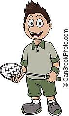 játékos, tollaslabda, tervezés, karikatúra