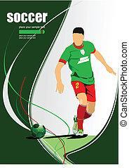 játékos, vect, futball, poster., labdarúgás