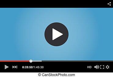 játékos, video, vektor, web., ábra