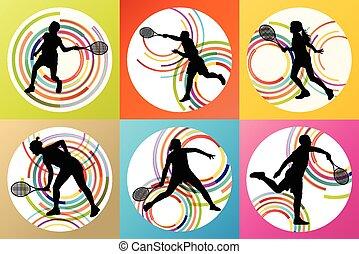 játékosok, körvonal, tenisz, állhatatos
