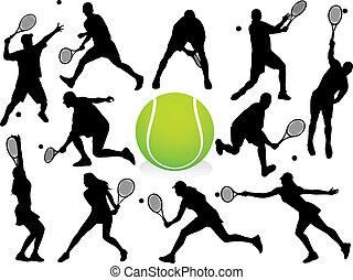 játékosok, körvonal, vektor, -, tenisz